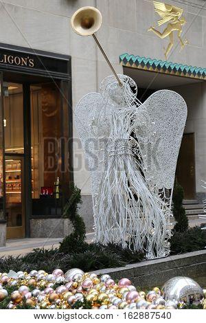 NEW YORK CITY- DECEMBER 15, 2016: Angel Christmas Decorations at the Rockefeller Center in Midtown Manhattan