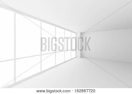 Business architecture white colorless office room interior - empty white business office room corner with white floor ceiling walls and large windows and empty space 3d illustration wide angle