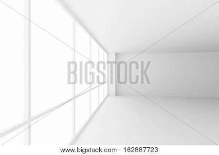 Business architecture white colorless office room interior - empty white business office room corner with white floor ceiling walls and large windows and empty space 3d illustration