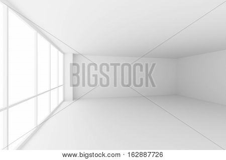 Business architecture white colorless office room interior - empty white business office room with white floor ceiling walls and large windows and empty space 3d illustration wide angle