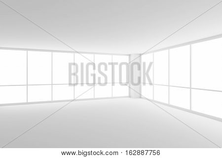 Business architecture white colorless office room interior - empty white business office room with white floor ceiling walls and two large windows in corner and empty space 3d illustration