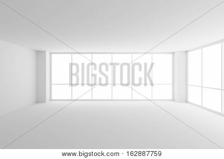 Business architecture white colorless office room interior - empty white business office room with white floor ceiling walls and two large windows and empty space 3d illustration