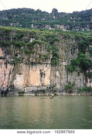 A steep cliff on the Li River, between Yangshuo and Guilin, China, circa 1987.