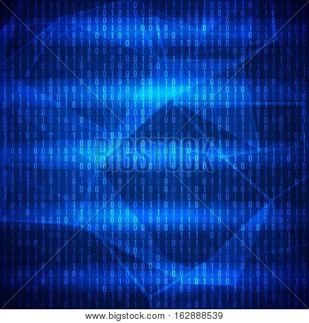 Abstract Blue Technology Background. Binary Computer Code. Programming, Coding and Hacker concept. Vector Background Illustration.