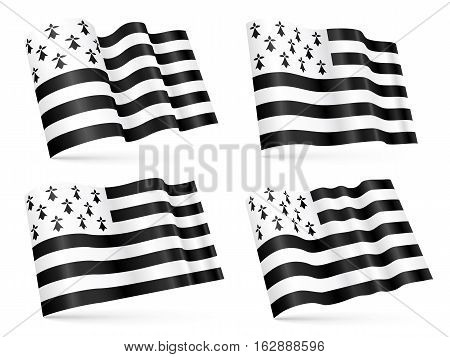 Vector 3D Breton waving flags set isolated on white background
