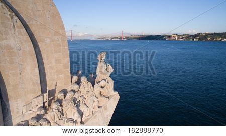Aerial View of Monument to the Discoveries, Belem district, Lisbon, Portugal