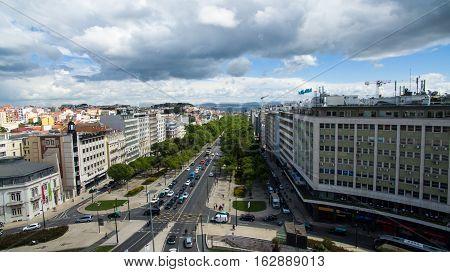 Aerial view of avenida liberdade Lisbon, Portugal. May 2016.