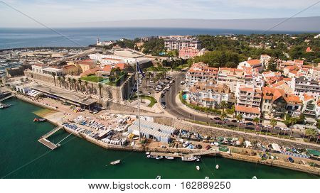 Yachts in the harbor of Cascais, Portugal. Aerial view of marina