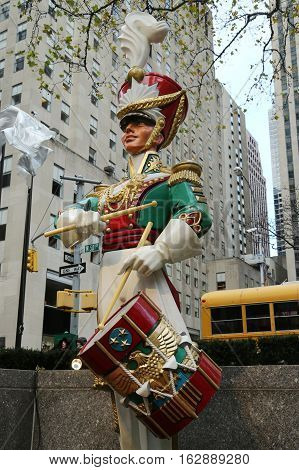 NEW YORK CITY- DECEMBER 15, 2016: Wooden toy soldier drummer Christmas decoration at the Rockefeller Center in Midtown Manhattan