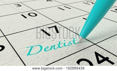 Blue ballpen on a paper calendar closeup with the word dentist 3D illustration