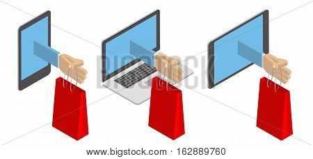 Concept purchase delivery of goods through the Internet. Delivery on the phone tablet PC. Vector isometric