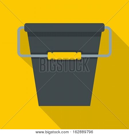 Flat illustration of black bucket vector icon for web isolated on yellow background