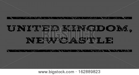 United Kingdom, Newcastle watermark stamp. Text caption between horizontal parallel lines with grunge design style. Rubber seal stamp with dust texture.