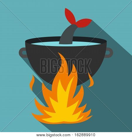 Flat illustration of cooking fish soup on a fire vector icon for web isolated on baby blue background