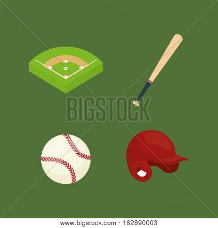 baseball ball field bat hat icon vector illustration graphic design