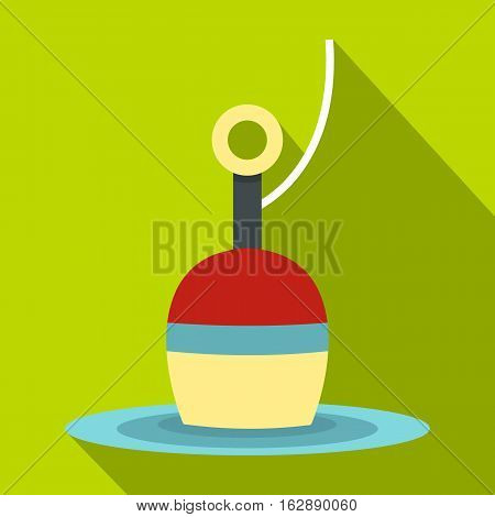Flat illustration of red and white bobber vector icon for web isolated on lime background