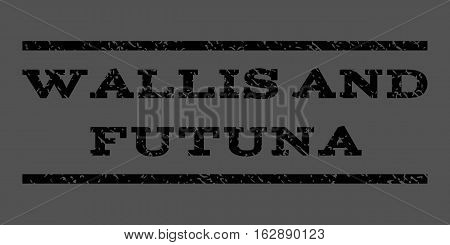 Wallis and Futuna watermark stamp. Text tag between horizontal parallel lines with grunge design style. Rubber seal stamp with dirty texture. Vector black color ink imprint on a gray background.