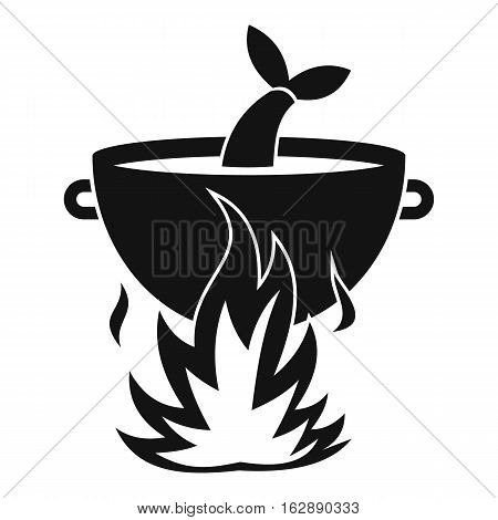 Fish soup on a fire icon. on a fire vector icon for web