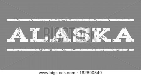 Alaska watermark stamp. Text tag between horizontal parallel lines with grunge design style. Rubber seal stamp with dirty texture. Vector white color ink imprint on a gray background.