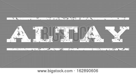 Altay watermark stamp. Text caption between horizontal parallel lines with grunge design style. Rubber seal stamp with unclean texture. Vector white color ink imprint on a gray background.
