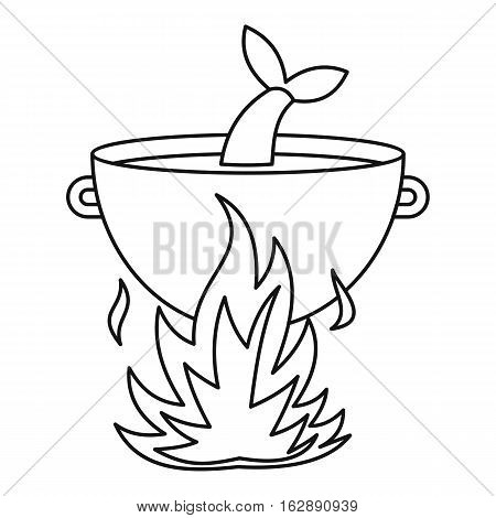 Outline illustration of fish soup in the cauldron vector icon for web