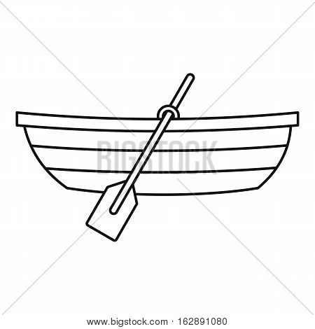 Boat with paddles icon. Outline illustration of boat with paddles vector icon for web