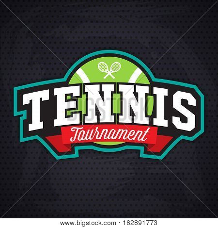 Tennis badge logo template, sport t-shirt graphics. Club emblem, college league logo, sport tournament, championchip design