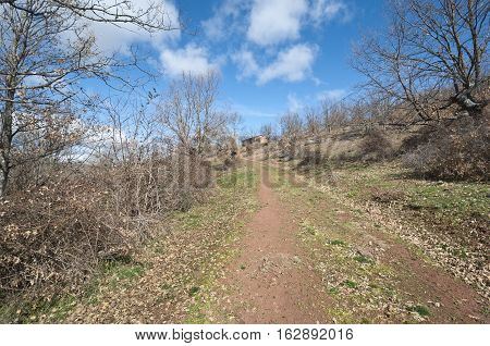 Dirt road to Chapel. Picture taken in San Millan de Lara, Burgos, Spain