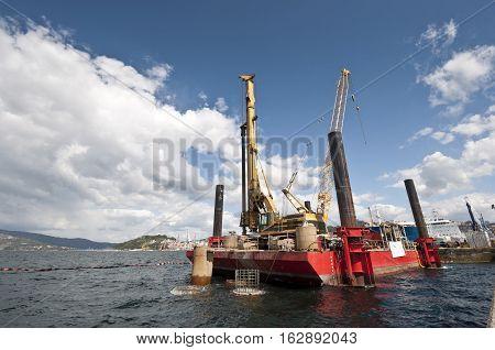 Working floating platform at Ria de Pontevedra Galicia Spain
