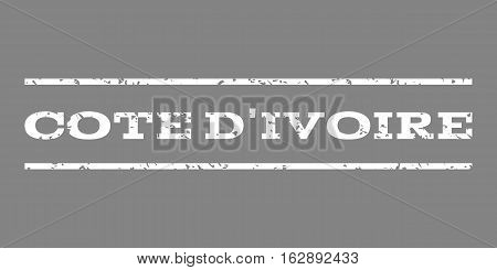 Cote D'Ivoire watermark stamp. Text caption between horizontal parallel lines with grunge design style. Rubber seal stamp with dirty texture. Vector white color ink imprint on a gray background.