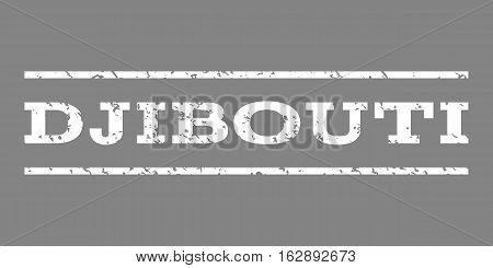 Djibouti watermark stamp. Text tag between horizontal parallel lines with grunge design style. Rubber seal stamp with unclean texture. Vector white color ink imprint on a gray background.