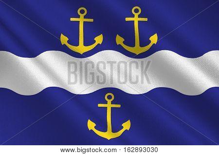 Flag of Gavle is a capital city in Gavleborg county of Sweden. 3d illustration