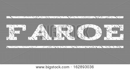 Faroe watermark stamp. Text caption between horizontal parallel lines with grunge design style. Rubber seal stamp with unclean texture. Vector white color ink imprint on a gray background.