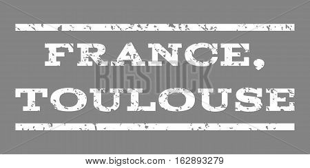 France, Toulouse watermark stamp. Text caption between horizontal parallel lines with grunge design style. Rubber seal stamp with dust texture. Vector white color ink imprint on a gray background.