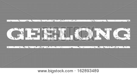 Geelong watermark stamp. Text caption between horizontal parallel lines with grunge design style. Rubber seal stamp with dust texture. Vector white color ink imprint on a gray background.