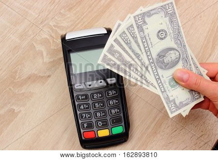 Currencies Dollar And Payment Terminal, Credit Card Machine On Desk, Finance Concept