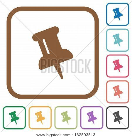 Push pin simple icons in color rounded square frames on white background