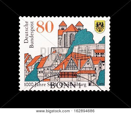 GERMANY - CIRCA 1994 : Cancelled postage stamp printed by Germany, that shows Quedinburg.