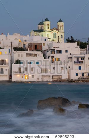 Long exposure of Naoussa village in Paros island in Greece.