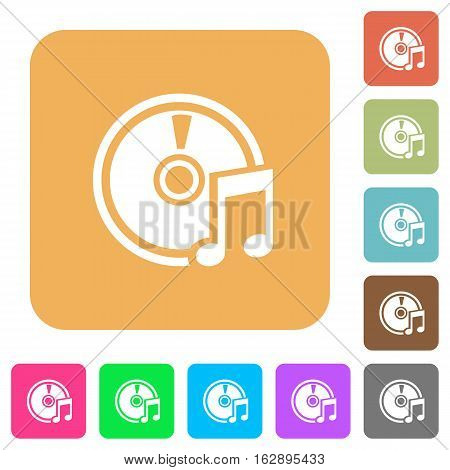 Audio CD icons on rounded square vivid color backgrounds.
