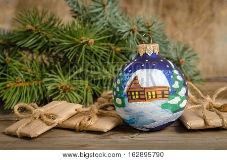 Painted Christmas Ball And Gift Packages