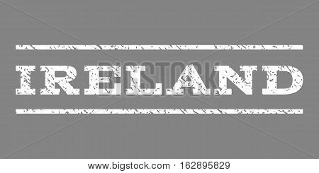 Ireland watermark stamp. Text tag between horizontal parallel lines with grunge design style. Rubber seal stamp with dirty texture. Vector white color ink imprint on a gray background.