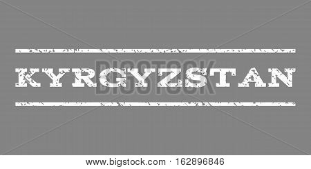 Kyrgyzstan watermark stamp. Text caption between horizontal parallel lines with grunge design style. Rubber seal stamp with dust texture. Vector white color ink imprint on a gray background.