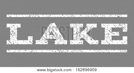 Lake watermark stamp. Text caption between horizontal parallel lines with grunge design style. Rubber seal stamp with scratched texture. Vector white color ink imprint on a gray background.
