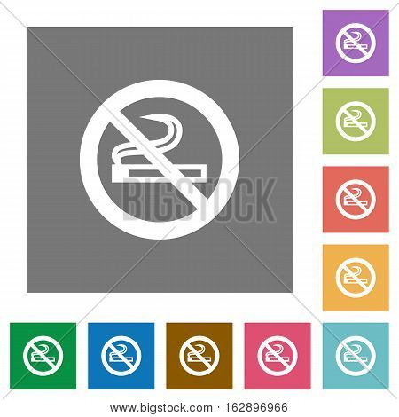 No smoking flat icons on simple color square backgrounds