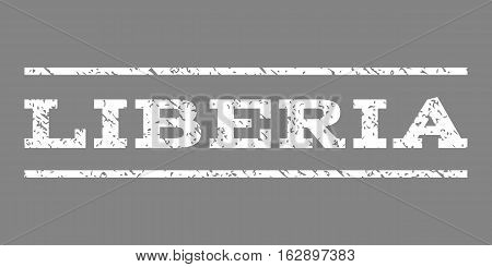 Liberia watermark stamp. Text tag between horizontal parallel lines with grunge design style. Rubber seal stamp with dirty texture. Vector white color ink imprint on a gray background.