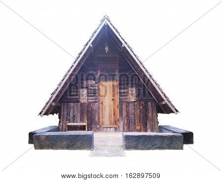 Old vintage wooden cottage isolated on white background with clipping path