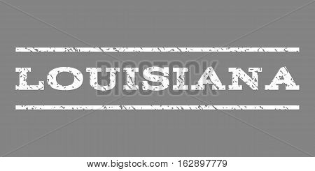 Louisiana watermark stamp. Text tag between horizontal parallel lines with grunge design style. Rubber seal stamp with dust texture. Vector white color ink imprint on a gray background.