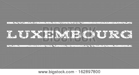 Luxembourg watermark stamp. Text caption between horizontal parallel lines with grunge design style. Rubber seal stamp with dirty texture. Vector white color ink imprint on a gray background.