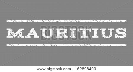 Mauritius watermark stamp. Text tag between horizontal parallel lines with grunge design style. Rubber seal stamp with scratched texture. Vector white color ink imprint on a gray background.